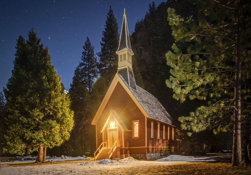 Chapel Church Night Scene No Filter No People Outdoords Place Of Worship Quaint Church Snow Travel Destinations Wedding Chapel Wedding Chapel At Night With Snow In The Foreground Yosemite Chapel\
