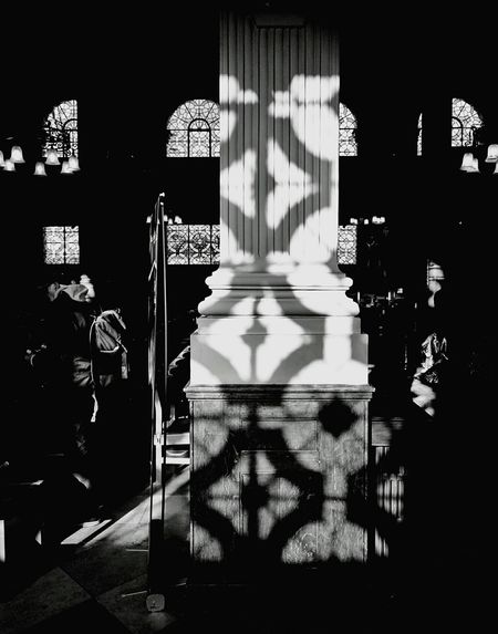 Ray of sunshine through the beautiful windows of Birmingham Cathedral Black And White Light And Shadow Relaxing Cathedral Stained Glass Window Pillars