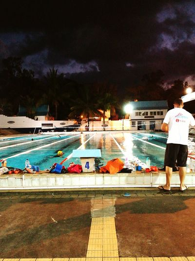 Water Full Length Outdoors Night One Person People Swimming Pool Adult Adults Only Swimmerslife Illuminated Electricity