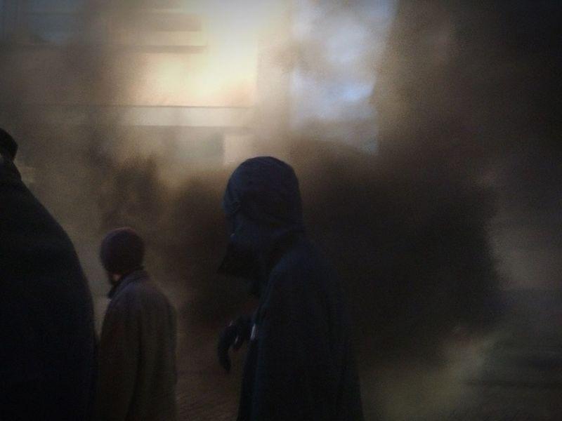 In smoke. Real People People Demonstration Demonstrators Riot Black Hoodie Sweden Smoke