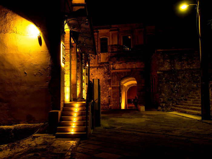 Night scene at the historical center of Chania Crete Building Exterior Chania Old Town History Illuminated Light Night No People Staircase Street