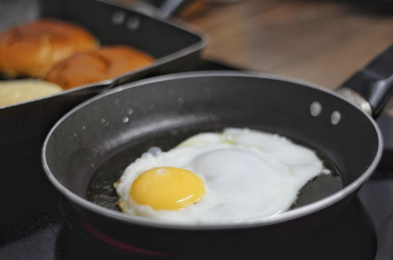 Close-up of breakfast served in pan