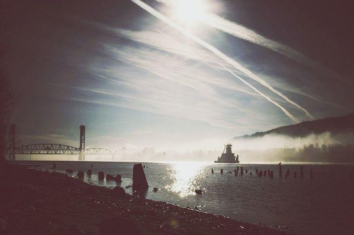 Darkness And Light Boats Fog Landscape
