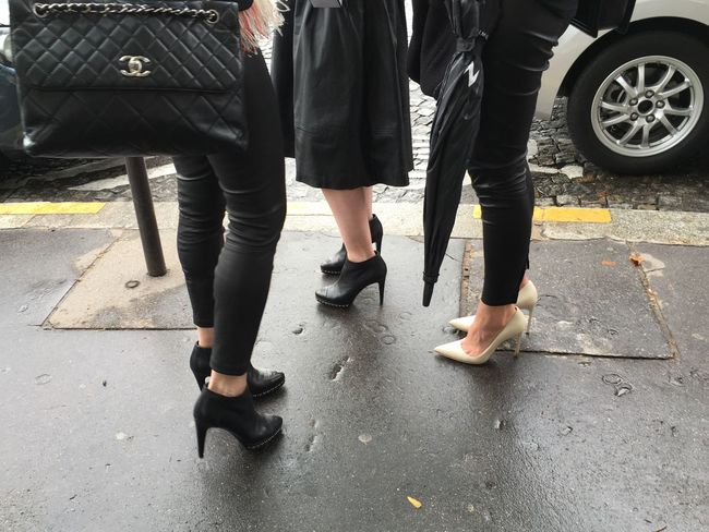 Fashionistas wait outside the Chanel SS16 Fashion Show Chanel Handbag and Heels shot on IPhone 6s Picturing Individuality