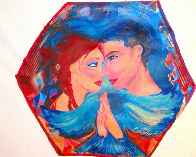 """Titre : """" Harmonie """" / """" Harmony """". L'oeuvre original a été exposé à Miami avec le Show de Bola - curatrice Leda Maria Prado. Leelooart.ca Multi Colored Smudged Horizontal Only Women Adult Young Adult Young Women People Person Human Body Part Day Leelooart Beautiful Woman Love Is In The Air Lovecouple Lovecouple Contemporary Art Acrylic Painting Fine Art Painting Fineart Acrylic Contemporain Romantic Sky Contemporary Couple"""