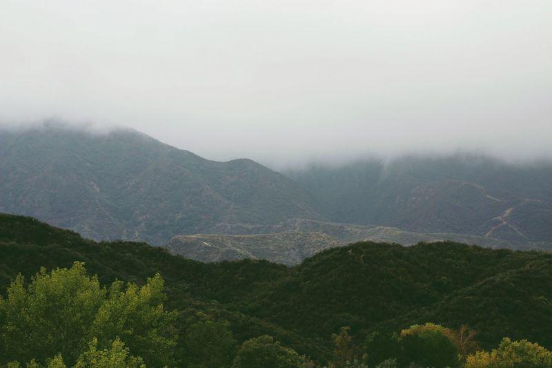 Rolling hills of Santa Clarita Fog Weather Nature Hills California