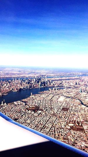 Cityscape Blue Sky Aerial View City Outdoors Scenics Architecture New York City Flightview Beautiful Day Travel Destinations Vacation Time New York State Of Mind City Day Travel Beautiful Sky Beautiful Place USAtrip USA Usadream LoveUSA No People Nature