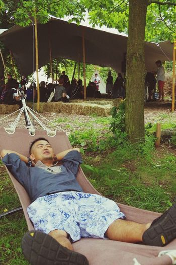 This is (Tech) Open Air. Grass Happiness Outdoors Smiling Relaxation