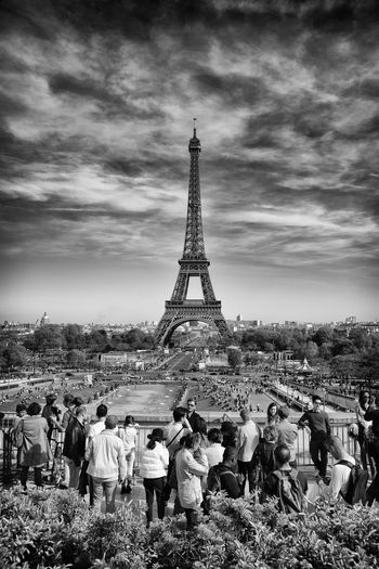 An overshot iconic structure! Architecture Built Structure Contrast D810 Dark Contrast Eiffel Tower Eiffel Tower Famous Place International Landmark La Tour Eiffel Landmark Landmarktower Monochromatic Monochrome Monument Nikon D810 Overcast Tourism Travel Destinations Black And White Friday Hotel Art