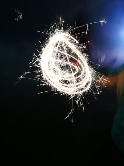 Circle Abstract Burning Heat - Temperature Black Color Sparkler Illuminated Night Outdoors No People Close-up