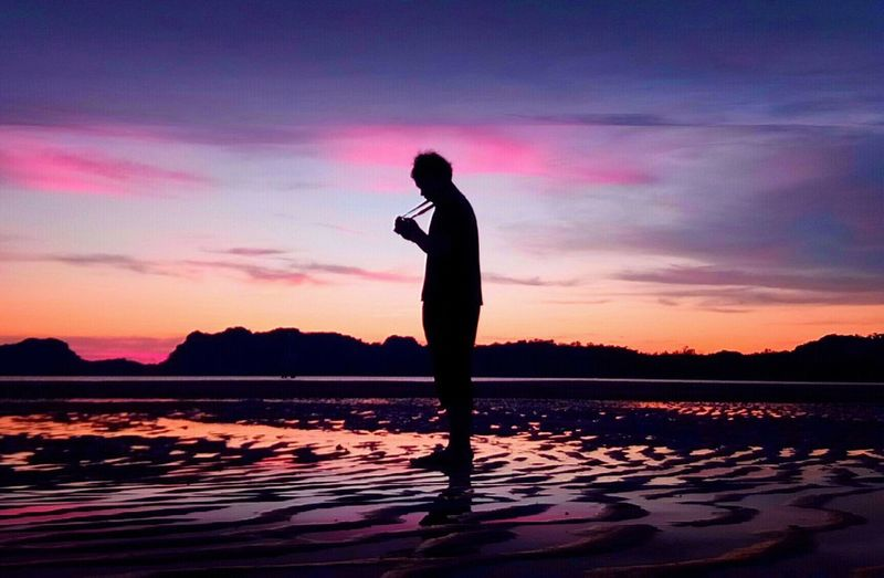 C H R O M E ~ 🌈 Sunset Sky Silhouette Water Standing One Person Beauty In Nature Scenics - Nature Real People