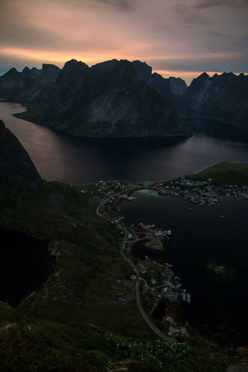 Reine Midnight Sun Sunset Islands Fjords Fishing Village Lofoten Norway EyeEmNewHere Sky Environment Scenics - Nature Landscape Beauty In Nature Land Nature Tranquility Water Cloud - Sky Tranquil Scene Sunset Non-urban Scene Mountain Mountain Range Travel Destinations Travel Outdoors Sea