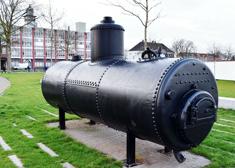 Steam Boiler made in Helmond the Netherlands in 1899 by Machinefabriek Begemann Industrial Iron Rivets Havenpark Hidden Gems