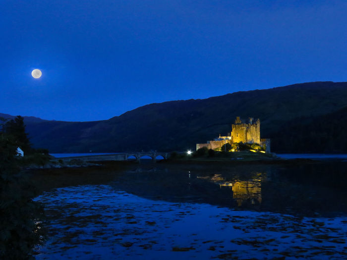 My Best Photo Water Sky Architecture Moon Illuminated Mountain Blue Night Lake Scotland Eilean Donan Eilean Donan Castle Castle Castles Castle View  Night Lights Nightphotography History Reflection