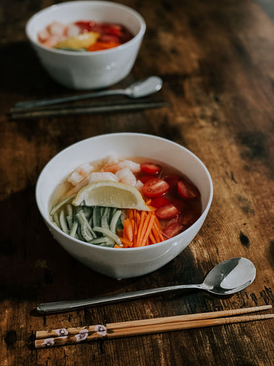 High angle view of asian soup in bowl on table
