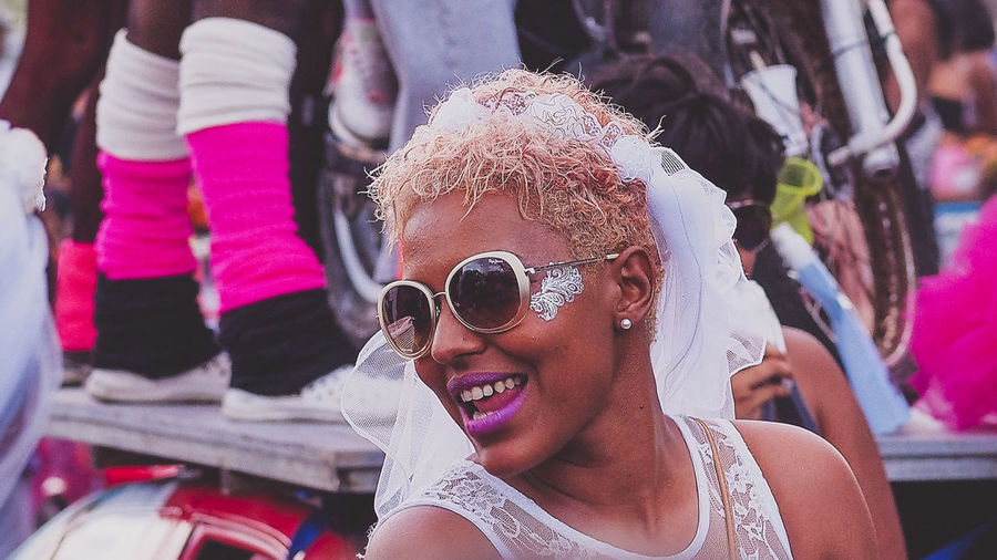 Martinique Carnival - Fashion Bride Bride Caribbean Carnival Colors Of Carnival Face Fun Island Life Martinique Portrait Portrait Of A Woman Pretty Woman Real People Smiling Streetphotography Sunglasses Young Women