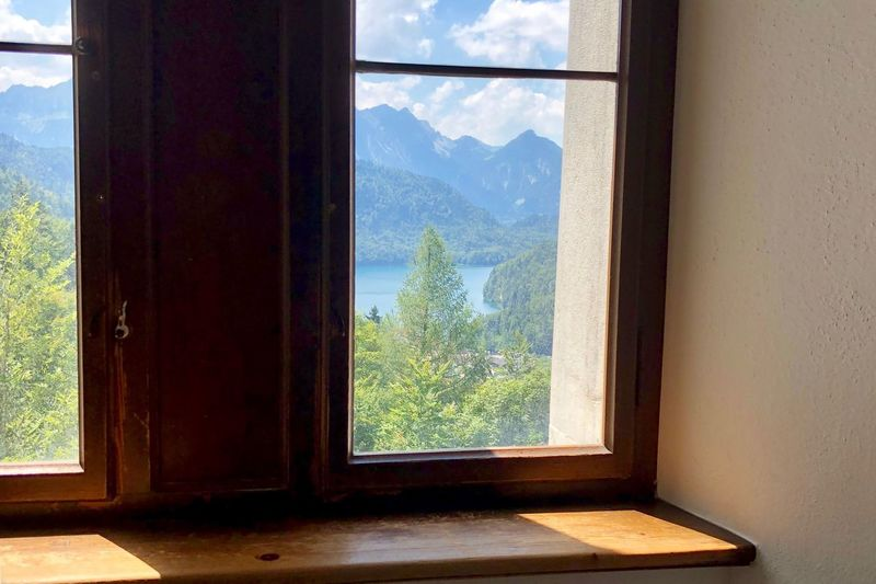 Window Landscape at Neuschwanstein Castle Travel Germany Castle Window Mountain Glass - Material Day Tree Indoors  Plant Architecture Beauty In Nature Window Frame My Best Photo