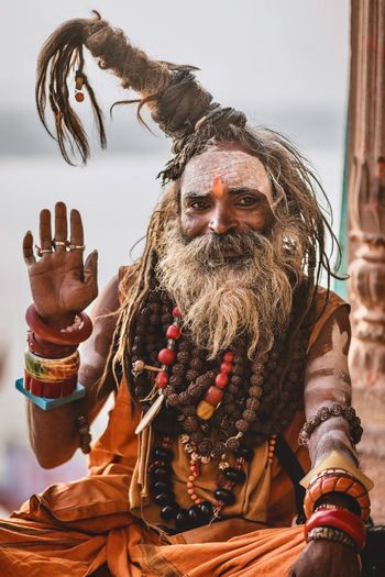 Sadhu of Varanasi Ghats Asian  Asian  Portraits Portrait Photography Portrait Sadhu Of India Sadhu Ghats Of Varanasi Ghats  Varanasi India Benares Varanasi Indiapictures Indian Culture  India Travelling Travel Destinations Travelphotography Travel Photography One Person Real People Front View Lifestyles Day Leisure Activity Outdoors Portrait Close-up Adult Art And Craft