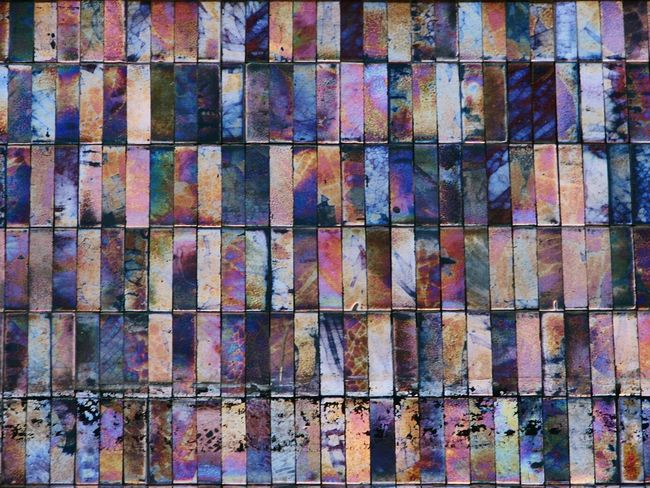 Tiles on a Malaga facade. Tiles Textures Full Frame Backgrounds Multi Colored Abstract Day Close-up No People Architecture Outdoors Textures And Surfaces Rainbow Colors Iridescent Color Pattern Textured