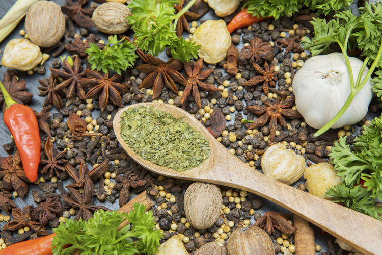 High angle view of spices in wooden spoon
