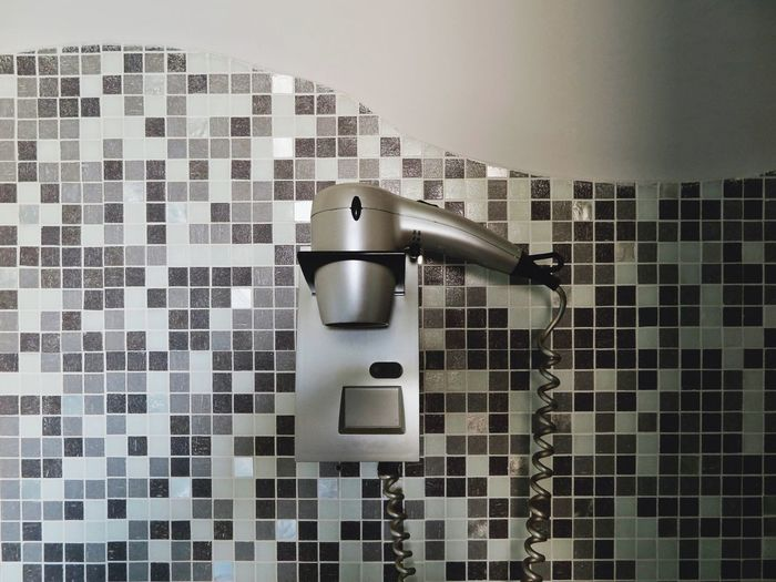 Home Mosaic Mosaic Tiles Architecture Bathroom Built Structure Cable Close-up Day Domestic Bathroom Domestic Room Grey Hair Dryer Home Interior Hotel Hotel Interior Hygiene Indoors  Interior No People Silver  Still Life Tile