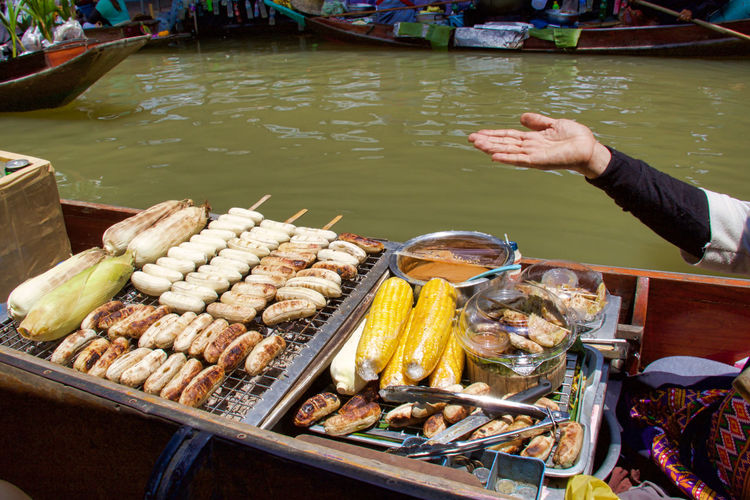 High angle view of food for sale in floating market