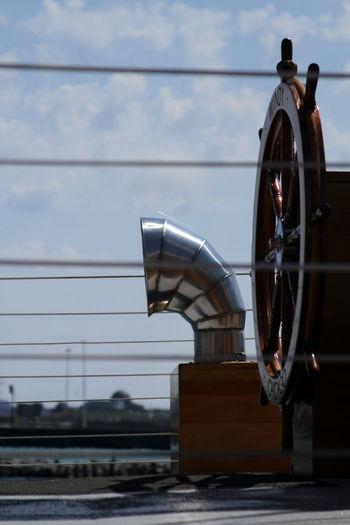 Cloud - Sky Day Helm Metal Mode Of Transport No People Railway Signal Sailboat Sailer Sea Sky Transportation Wood