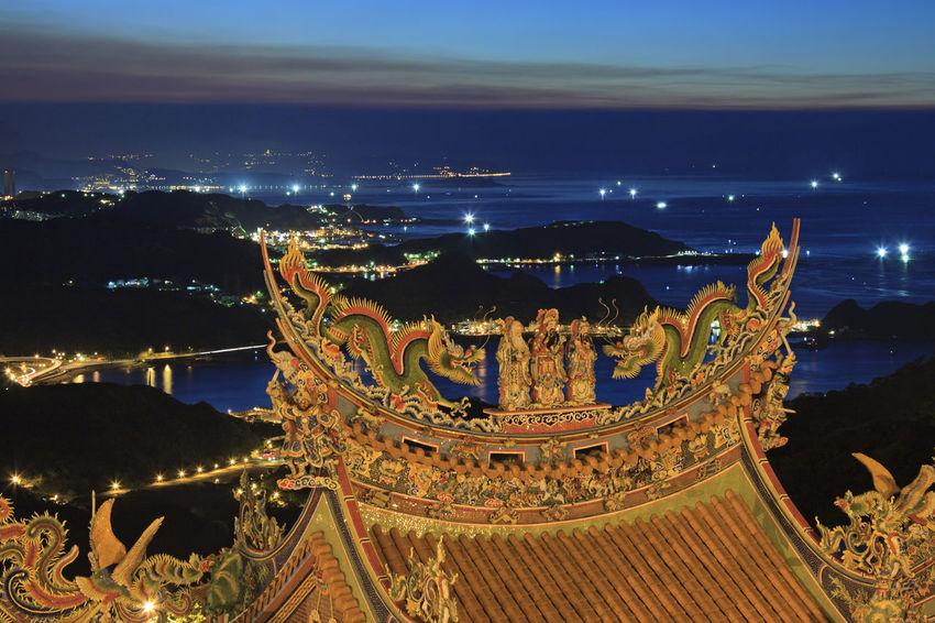 Taiwanese temple at dusk Architecture ASIA Built Structure Capital Cities  China City Cityscape Illuminated Jiufen Old Street, Taiwan Jufen Kaohsiung Lantern Market Night Outdoors ROC Sky Street Food Taichong Tainan Taipei Taiwan Tourism Traditional Food Travel Destinations