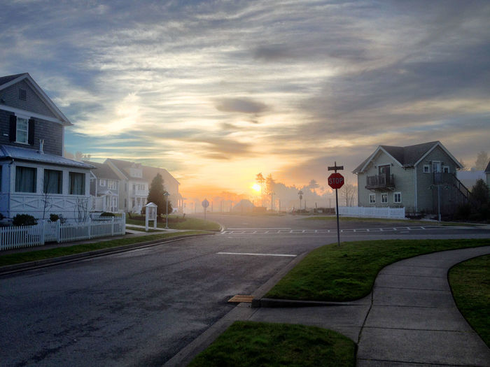 Architecture Building Exterior Built Structure City Cloud - Sky Day Grass House Nature No People Outdoors Residential Building Road Sky Sunset Transportation