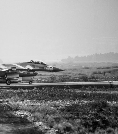 Air Force Aircraft Aviation Aviationphotography Bw Day F-16 Flight Grass Israeli Air Force Landscape Military Mode Of Transport Mountain Nature Outdoors Road Runway Sky View