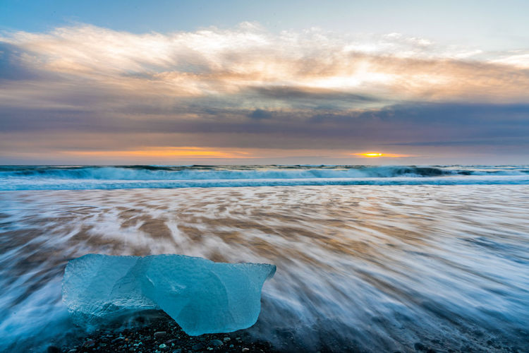 Ice Iceland Winter Beach Beauty In Nature Cloud - Sky Day Diamond Beach Dramatic Sky Horizon Over Water Long Exposure Nature No People Outdoors Sand Scenics Sea Sky Sunset Tranquil Scene Tranquility Water Wave