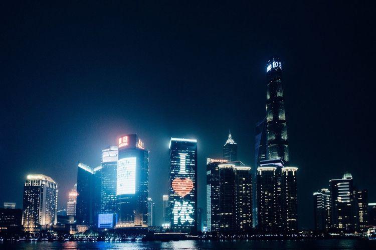 我爱上海 Shanghai Bund Building Exterior Architecture Built Structure Night City Office Building Exterior Skyscraper Building Illuminated Cityscape Tall - High Modern Urban Skyline Travel Destinations City Life