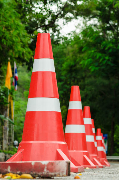 Rows of traffic cones outside the city. Cone Danger Day No People Outdoors Protection Red Road Marking Road Warning Sign Safety Striped Symbol Traffic Cone Transportation Tree Vibrant Color Warning Symbol ın A Row