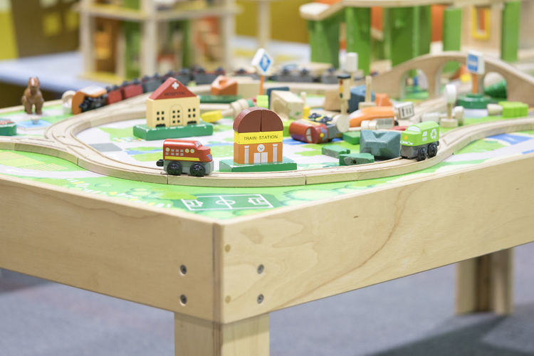 wooden toy train - Toys for kids Play set Educational toys for preschool indoor playground (selective focus) Wooden Toys Wooden Toy Block Focus On Foreground No People Close-up Table Communication Text Selective Focus Relaxation Sign Choice Still Life Wooden Toy Train