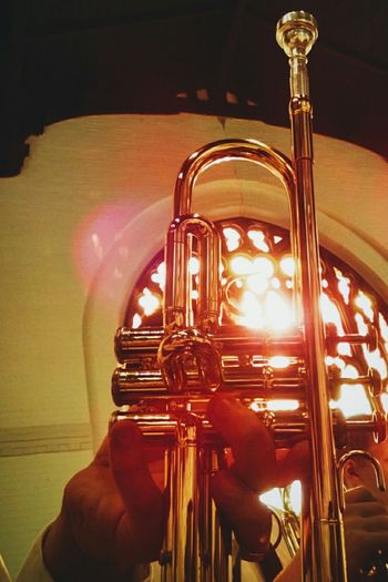Trumpetplayer Trumpet Stain Glass Window Stain Glass Stained Glass Colorful Color Explosion Ohio Ohio, USA Taking Photos Human Interest Sun Sunshine Sunlight Sunday Chapel Band Band Memories (: Band Member TakeoverMusic