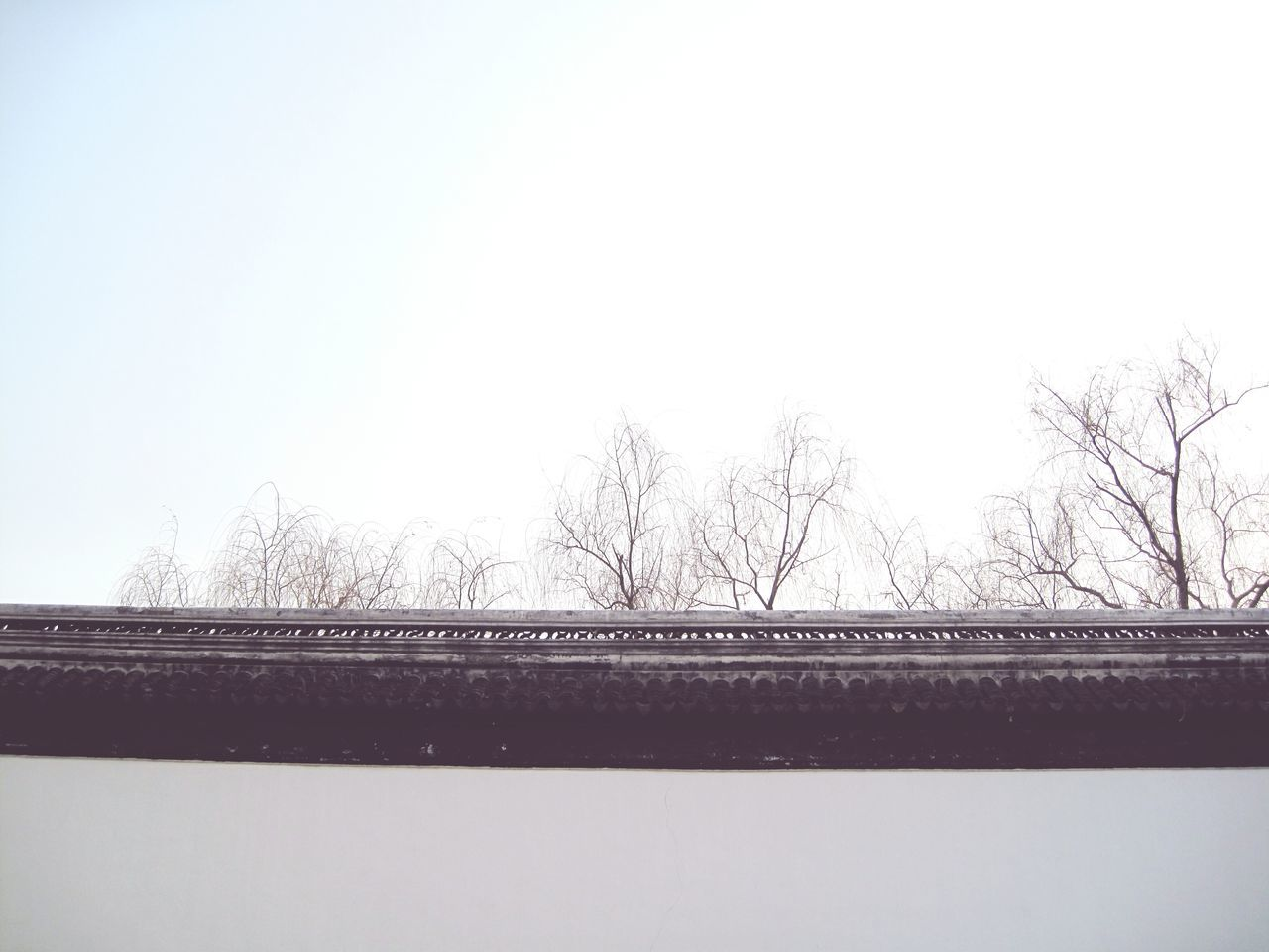 bare tree, bridge - man made structure, tree, connection, day, architecture, outdoors, built structure, no people, sky, clear sky, winter, river, nature, low angle view, snow, building exterior, water, beauty in nature