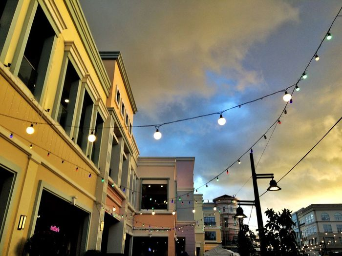 Pastels Architecture Building Exterior Built Structure Low Angle View Sky Cloud - Sky Building Decoration No People Lighting Equipment Outdoors Dusk Illuminated Light City Street