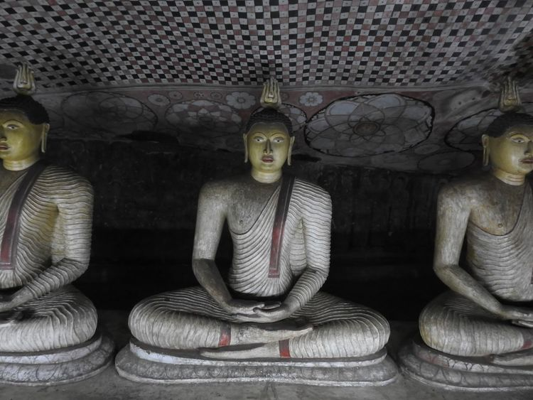 Buddhas Close-up Day Dumballa Temple Sri Lan Human Representation Indoors  Male Likeness No People Place Of Worship Sculpture Spirituality Sri Lanka Statue Three Budgh Three Statues