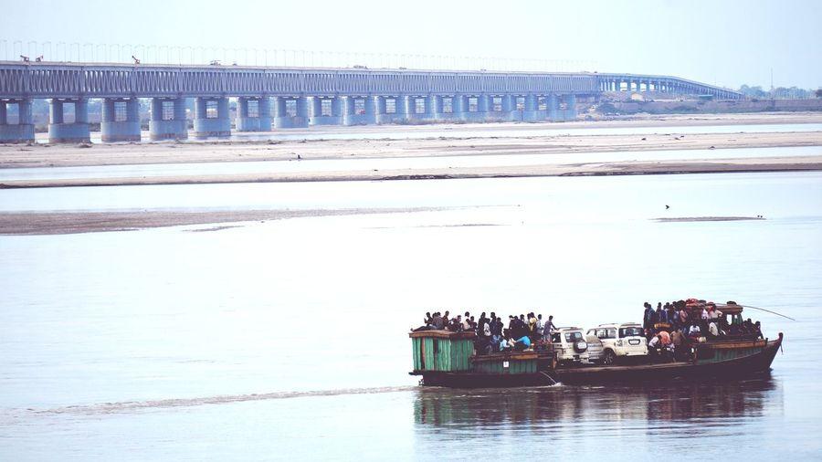 Lifegoeson Brahmaputra_ghat Landscape Bogibeel Bridge Water Oil Pump Sky Horizon Over Water