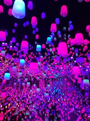 Illuminated No People Night Multi Colored Lighting Equipment Pink Color Light - Natural Phenomenon Light