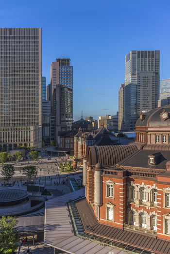 High angle view of the marunouchi side of tokyo railway station in the chiyoda city, tokyo, japan.