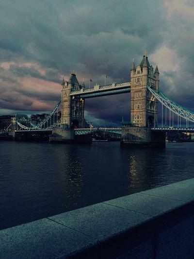 London Tower Bridge  Everning Sky Water Thames River