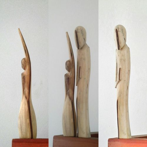 "My Second Piece is on His Way. main shapes are there. My Art Wooden Sculpure Wood Carving Art . ""Together"" (made with a Half of an Ironwood Branch) In One Side, The Delicate Forms, the Sensuality and Beauty. The Other Side, the Strength, the Humbleness and the Wisdom. Together.!! (these are 16cm high Essays For a BedSide Lamp)Hope You like them too!! Made with Care and Patience"