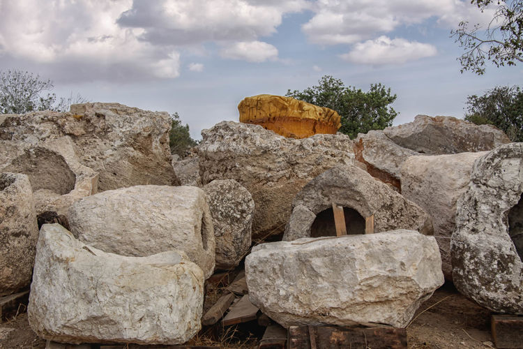 Beit Guvrin National Park Archeaology Beauty In Nature Beit Guvrin, Beit Jibren, Israel, Palestine, Israeli, Palestinian, National Park Cloud Cloud - Sky Cloudy Column Crusader Day Historical Monuments Historical Sights Judea Landscape National Park Nature Rock - Object Rock Formation Roman Ruins Scenics Sky Stone - Object Tranquil Scene Tranquility Tree