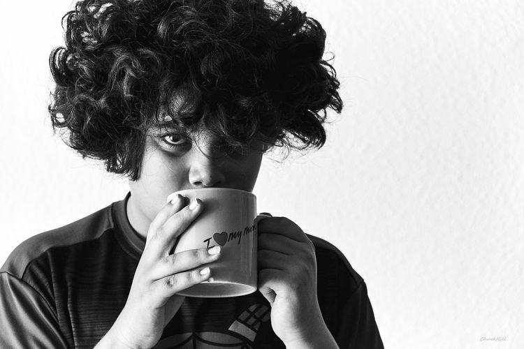One Person People Text Portraits Of EyeEm People Of EyeEm Curly Hair Black And White Portraits Human Face Black And White Photography My Son A6000 18-105mm Real People Portrait Human Faces Looking At Camera I Love My Mom