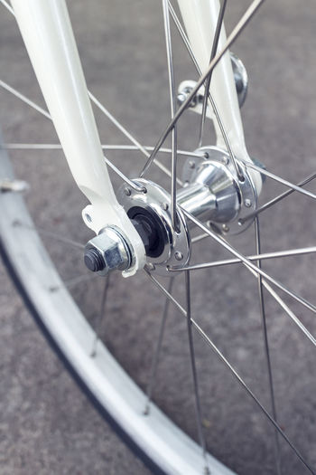 High angle view of bicycle wheel