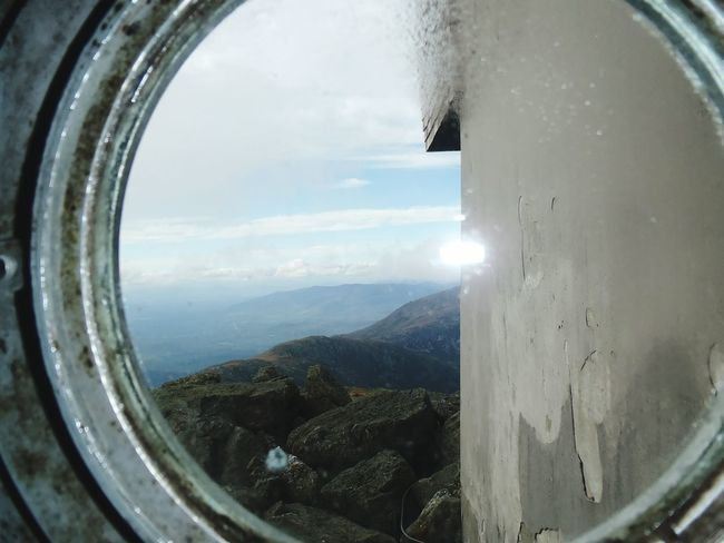Mount Washington Observatory, New Hampshire White Mountains Mount Washington  In The Clouds Mountain View Through The Clouds New Hampshire White Mountains Through The Window Round Window Mountain Top Moutains