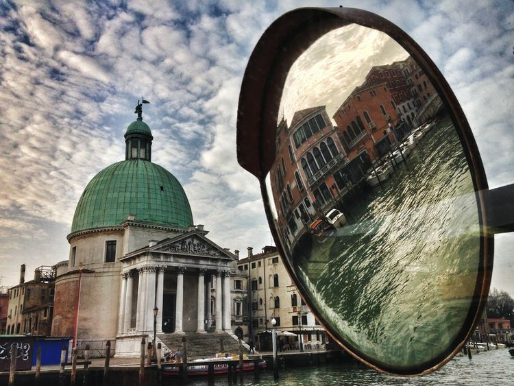 Architecture Sky Building Exterior Dome Cloud - Sky Built Structure City No People Outdoors Day Church Reflection Convex Mirror Composition Water Gran Canal Canal Grande Lagoon Venice, Italy Boats Waterbus Stop Morning Cut And Paste The Architect - 2017 EyeEm Awards The Street Photographer - 2017 EyeEm Awards Neighborhood Map Been There. Rethink Things Be. Ready.