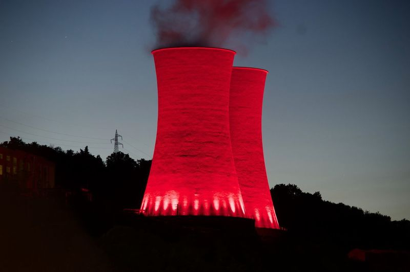 Sky Built Structure Red Architecture Building Exterior No People Low Angle View Industry Fuel And Power Generation Environmental Issues Nature Smoke - Physical Structure