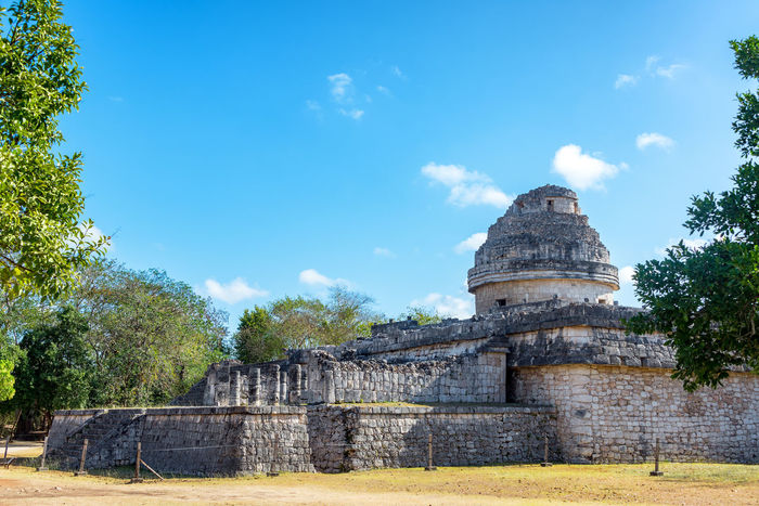 Ancient Mayan observatory in the ruins of Chichen Itza, Mexico Ancient Archeology Architecture Cancun Chichen Chichen Itza Chichenitza City Civilization Landmark Maya Mayan Mexican Mexico Old Pyramid Sacred Site Stone Temple Tourism Travel Unesco World Yúcatan